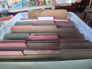 She makes 52 file folders, each for a week in the year.  Staples to do lists, menus, b-day's etc, in advance.  Cool!