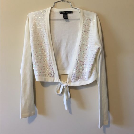 Sequined White Sweater Shrug with Tie Gently used beautiful white ...