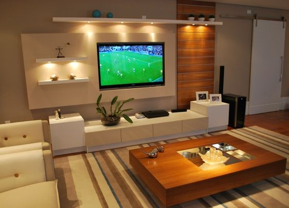 Sala De Estar Junto Con Sala De Tv ~  de tv parede da tv rack de tv iluminação acentos da sala de estar