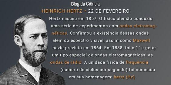 O físico alemão nasceu em 1857. O físico alemão conduziu uma série de experimentos com ondas eletromagnéticas foi o 1˚ a gerar as ondas de rádio.