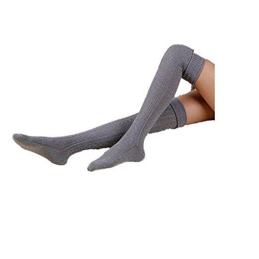 Calze Familizo Le donne Ragazza di inverno sopra il ginocchio scaldino del piedino morbido Knit Crochet calzino Legging (Grigio)