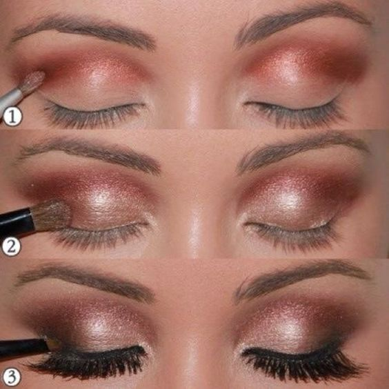 Rose gold tones are perfect for a fall event. Think I need to try this out with my Naked 3 palette :): Beauty Hair, Eye Colors, Event Makeup, Wedding, Bridal Makeup, Fall Formal Makeup, Diy Rose Gold Hair Color, Makeup Homecoming2014