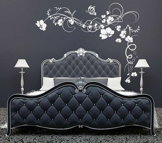 Large Flowers Butterfly vine wall sticker decal graphic ...