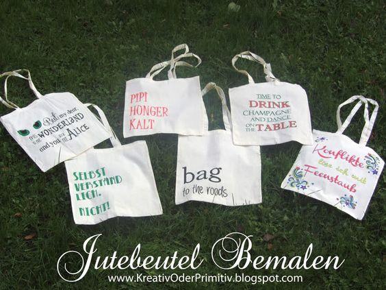jute beutel, taschen, bemalen, geschenkerpackung, recycling