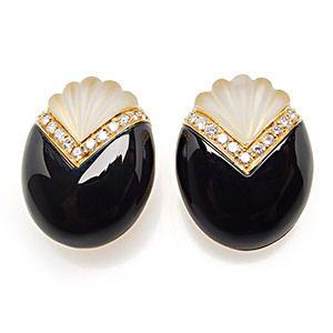 Natural Black Onyx Quartz Diamond Earrings