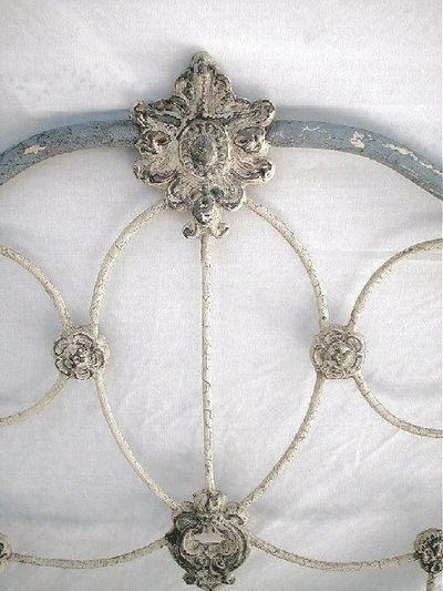 old white metal bedhead