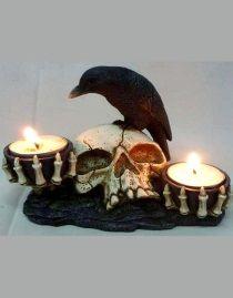 Bougeoir gothique skull & raven