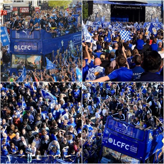 It's just a sea of blue in #Leicester... #LCFC #premierleague #soccer #football #lcfcparade