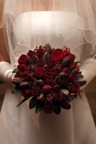 Blood red bouquet with red berries, red roses and dark red ...