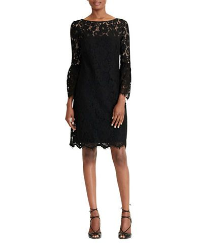 Lauren Ralph Lauren Scalloped Lace Sheath Dress Women's Black/White 8