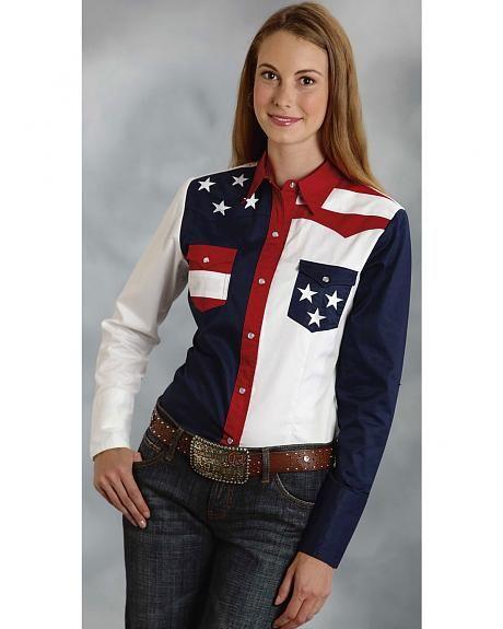 Roper Women's Stars & Stripes Colorblock Western Shirt