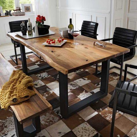 Baumkantentisch Cosimo Aus Akazie Massiv Pharao24 De Holztisch Selber Bauen Tisch Esszimmer Esstisch Holz