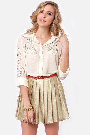 Pretty Lace Top - Cream Top - Button-Up Top - $53.00