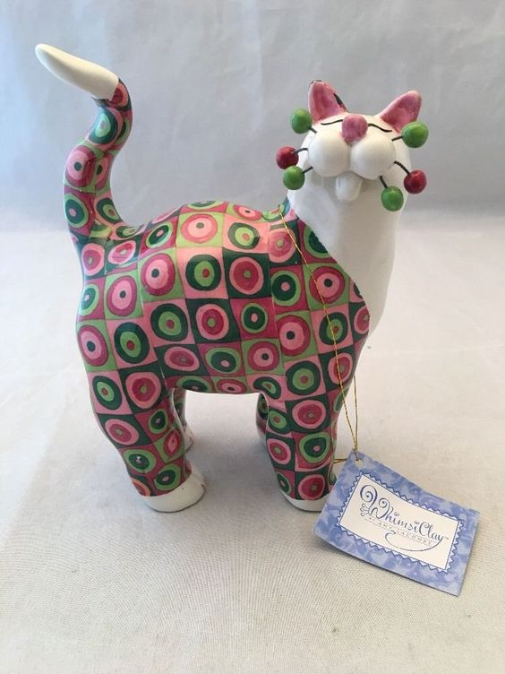 "New Whimsiclay Cat Figurine "" Panic "" By Amy Lacombe # 86042 2002 