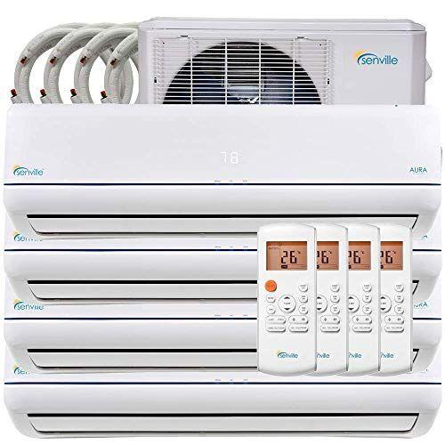 Senville 36000 Btu Quad Zone Mini Split Air Conditioner Heat Pump Sena 36hf Q Air Conditioner Installation Heat Pump Heat Pump System