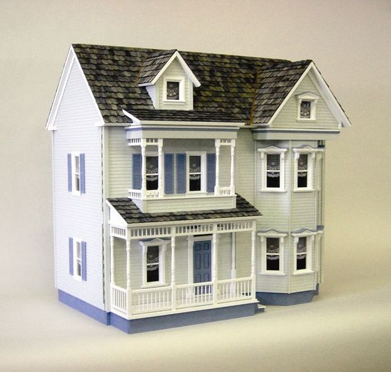 Dollhouses house and victorian dollhouse on pinterest for Victorian kit homes