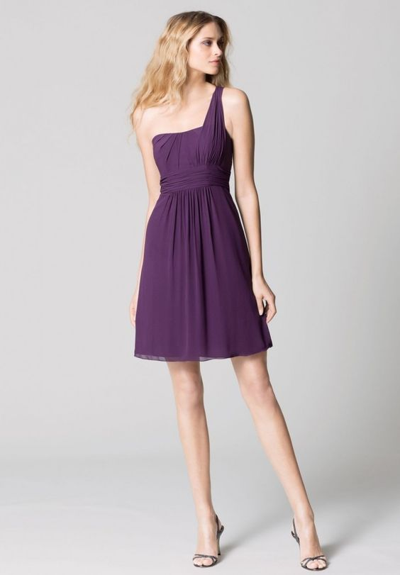 Chiffon One Shoulder A Line Short Bridesmaid Dress | Dresses ...