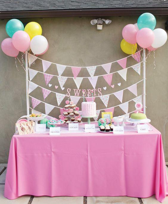 Pink and garden dessert table ~Gorgeous Little Deer Garden Birthday Party