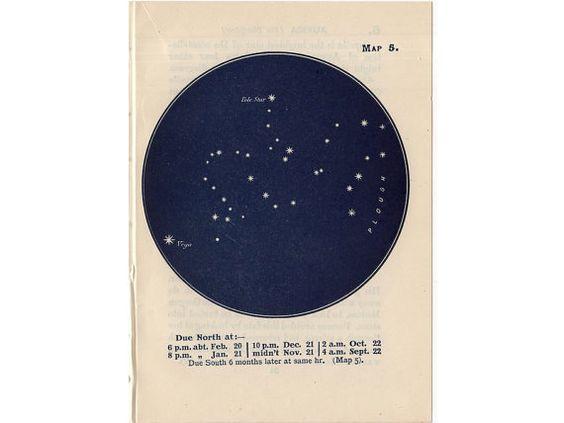 1948 DRACO CONSTELLATION STARS lithograph - mini constellation map - original…