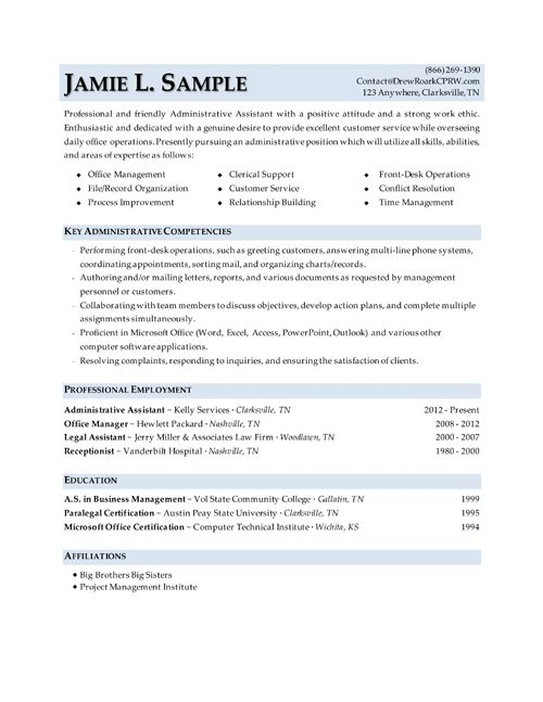 sample administrative assistant resume pictures pin pinterest - technical resume tips