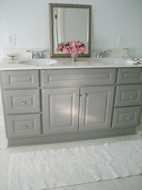 Painted Vanity Martha Stewart Cement Gray Half Bath
