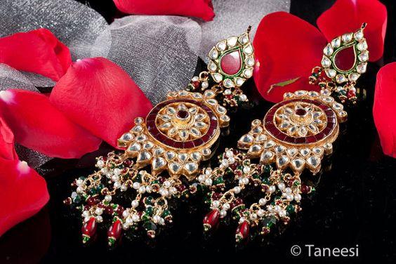 Chandelier Earrings Red White Kundan  22K Gold by taneesijewelry, $295.00