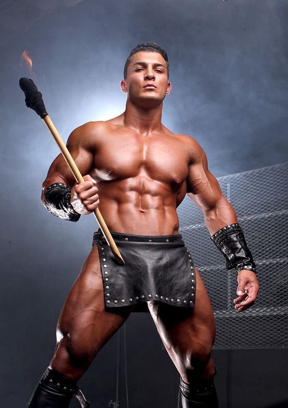 8/06/114 1:52a Muscled Tan Studded Loin Cloth Leather