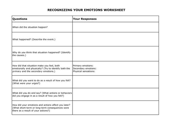 Printables Dbt Worksheets free printable and worksheets on pinterest dbt recognizing your emotions worksheet