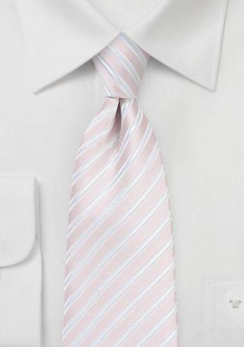 Krawatte Business-Streifen hellrosa perlweiß