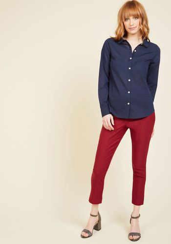 Off to a Good Start-up Button-Up Top in Dark Wash