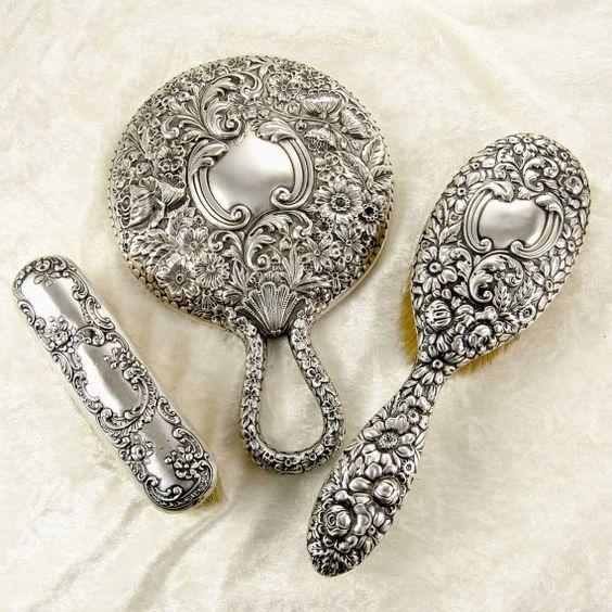 Antique Hand Mirror Value: 3pc Antique 1896 GORHAM Repousse Mirror, Hair Brush