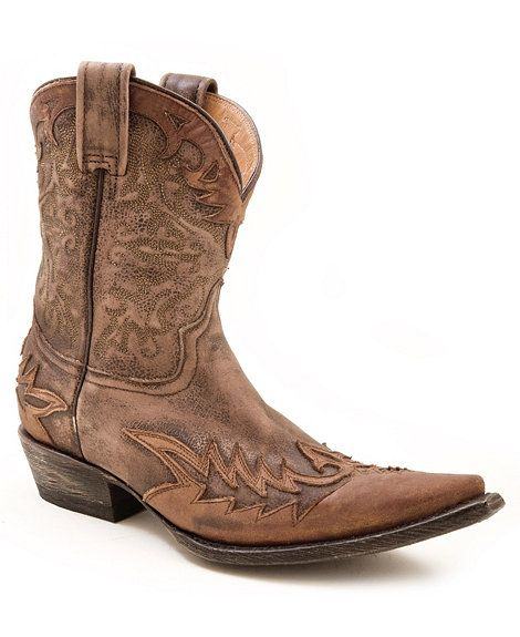 Stetson Short Brown Distressed &amp Washed Overlay Cowgirl Boots