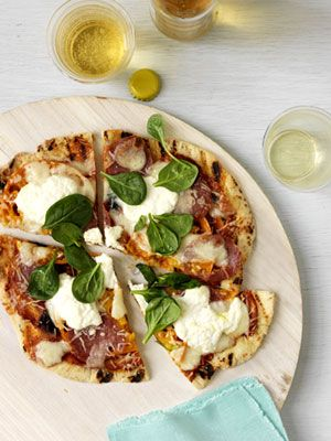 Grilled pizza with soppressata, ricotta, and spinach