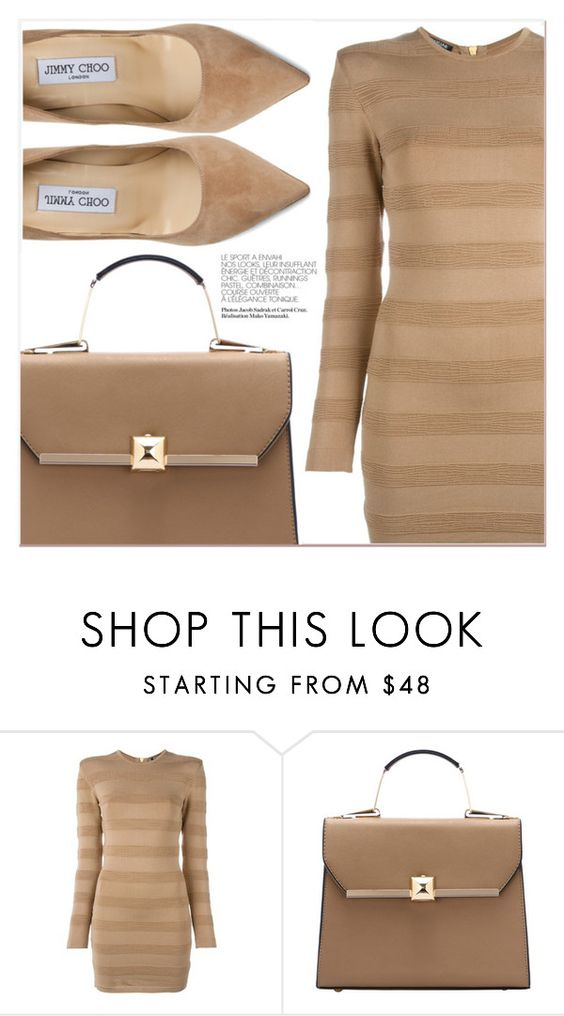 """""""Beige Motion"""" by lucky-1990 ❤ liked on Polyvore featuring Balmain and Jimmy Choo"""