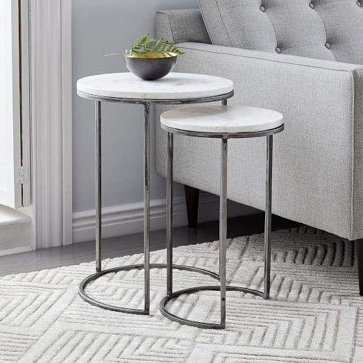 Marble Round Nesting Side Table Set Of 2 Marble Side Tables Marble Side Table Round Side Table Decor
