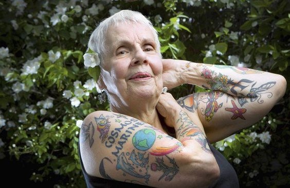 78-year old Helen Lambin, who got her first tattoo just three years ago as a tribute to her late husband. Since then, she's gotten over 50 tattoos and she's already thinking about her next.