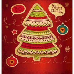 [フリーイラスト素材] イラスト, クリスマスツリー, クリスマス, 12月, 行事 / イベント, メリークリスマス, EPS ID:201410231900
