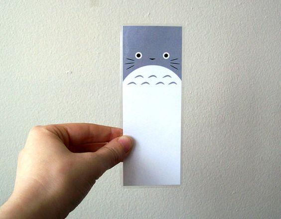 Totoro laminado Anime Fan Art Bookmark por sacari en Etsy