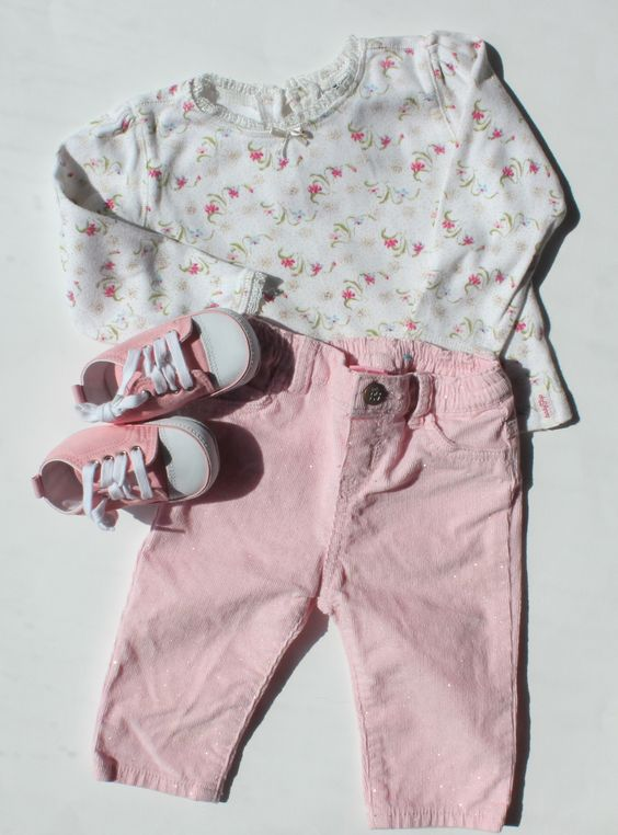 Baby Girl Outfit with Top by Baby Gap and Pink Sparkle Corduroy Pants By Children's Place, size 3-6 Months