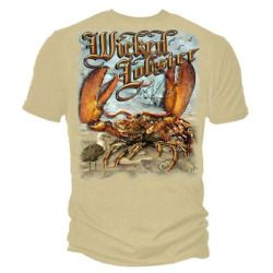 Wicked Fish Lobster Fishing T-shirt by Erazor Bits, Sand, 3XL