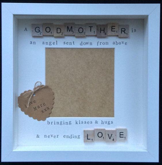 Handmade scrabble tile frame, christening, godmother, godfather gift