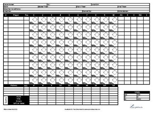 Download Our Free Printable Baseball Score Card Available For In PDF Format  For Tracking Baseball Scoring In League Play.