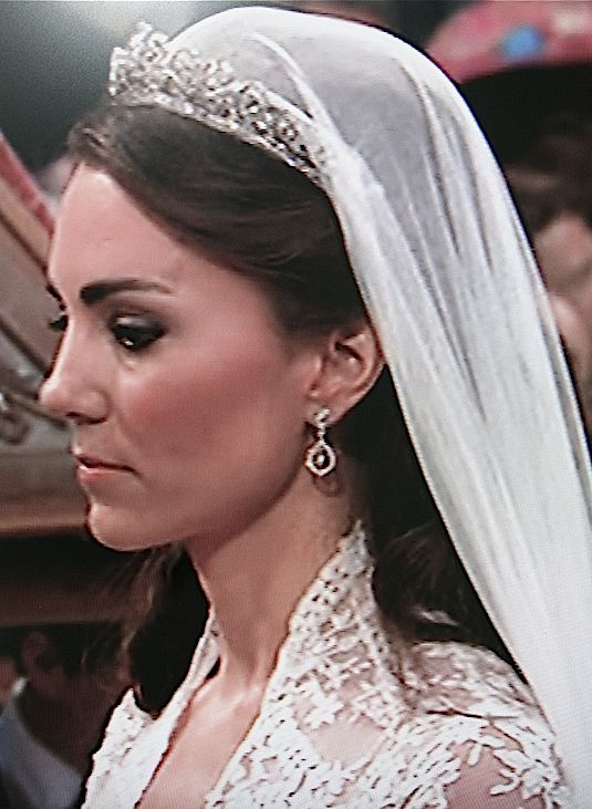 Princess Kate Windsor Middletons Hair Was Classic For A Royal Wedding And Looked Regal Wearing Tiara Veil Combination With Natural Looking D