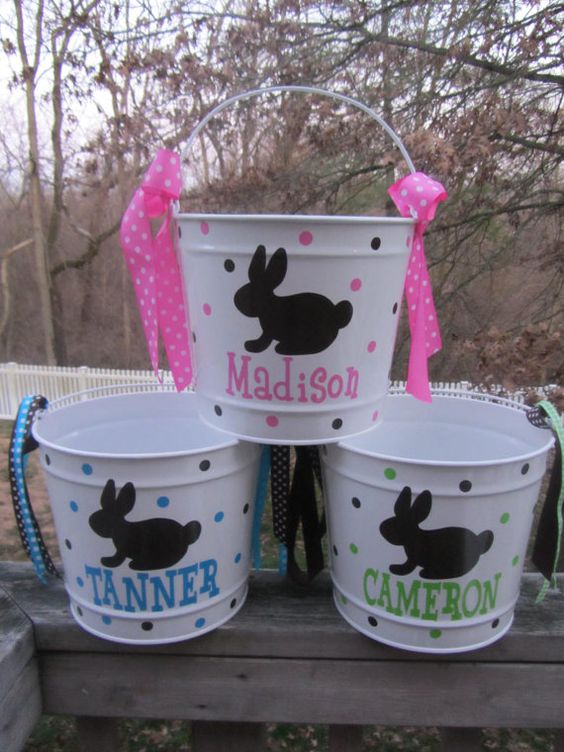 Personalized Easter Bucket Basket Pail 10 Quart Size
