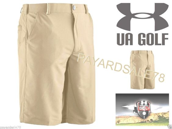 MEN'S SIZE 40 LOOSE FIT UNDER ARMOUR KHAKI GOLF SHORTS HEATGEAR ...