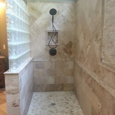 glass block walls in bathrooms fabulous master bathroom remodel with a 12 ft custom tiled shower deltec bathrooms pinterest glass blocks wall - Bathroom Designs Using Glass Blocks
