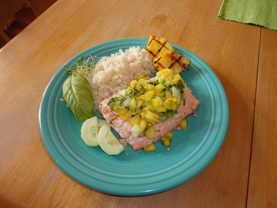 Grilled Salmon with Pineapple, Cucumber and Basil Salsa, Coconut rice ...