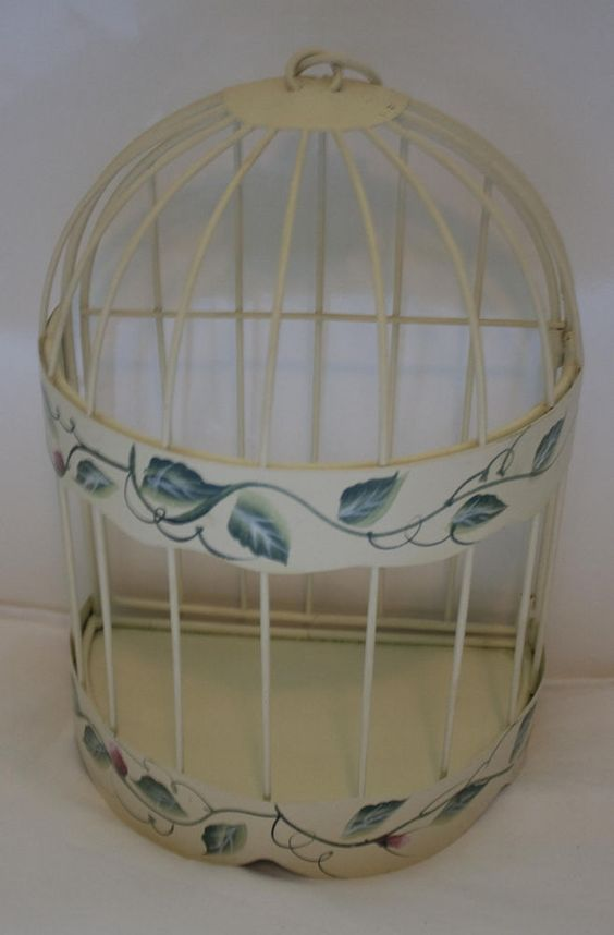 Metal Wall Hanging Bird Cage Half Round Painted Flowers Display #Unbranded http://stores.ebay.com/Glennis-Alexandras-World