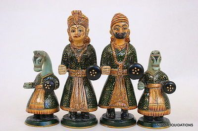 "Wooden Chess Set Hand Painted King 6.5"" Indian Elephant Horse Camel Vintage RARE"