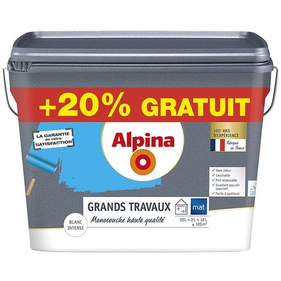 Peinture mono-couche blanc mat 10L+20% ALPINA